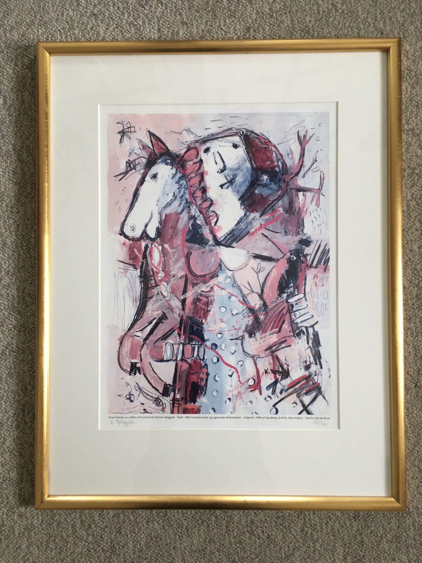 Kirsten Bøggild, kunsttryk, nr. 31/40, signeret i 99, flot indrammet (63x47 cm) Pris 400kr