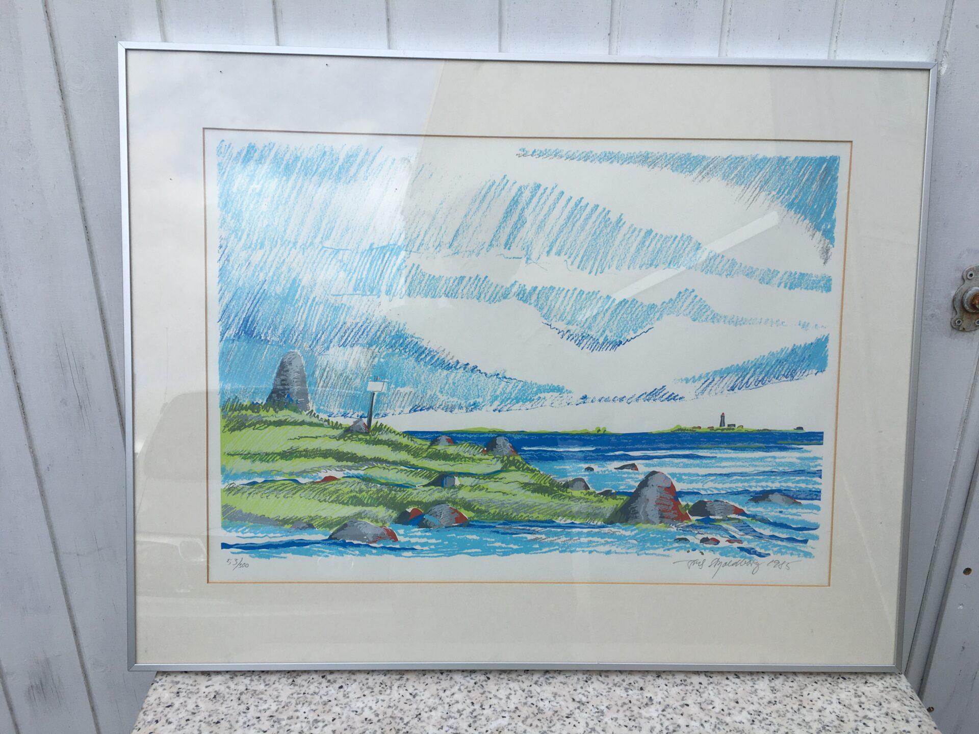 Erik Skjoldborg, litografi nr. 53/300, signeret i 85, rammemål 57x73 cm, pris 400 kr