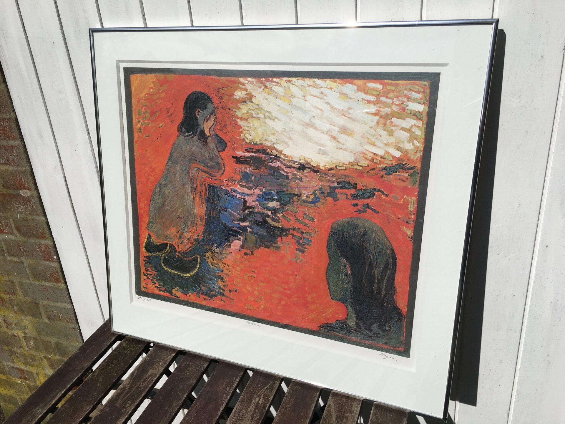 Kay Christensen (Kay C) litografi nr 245/450, floi indrammet med passpartout, 66x74 cm, pris 400 kr