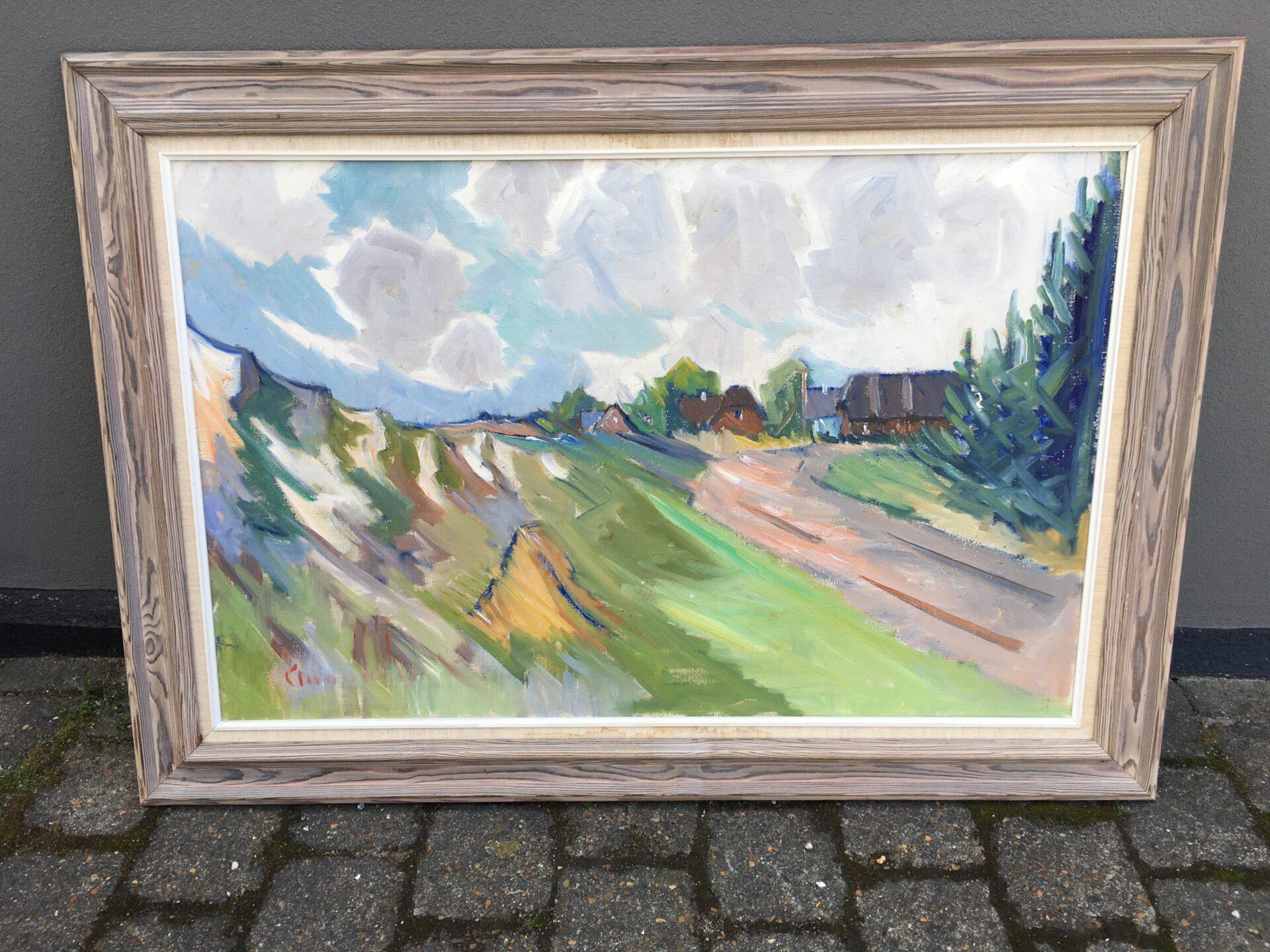 Arnold W. Pedersen, rammemål 86x118 cm, pris 800 kr