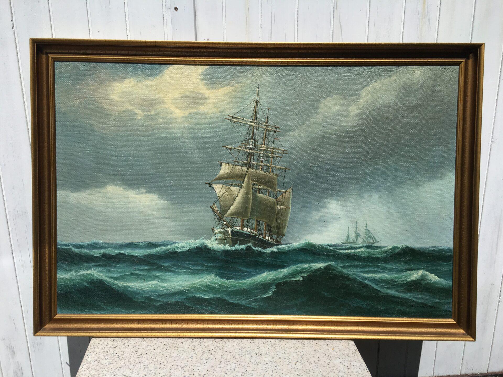 Marinemaleri, Frederik Ernlund, Middelfart, velholdt, rammemål 80x120 cm, pris 600kr