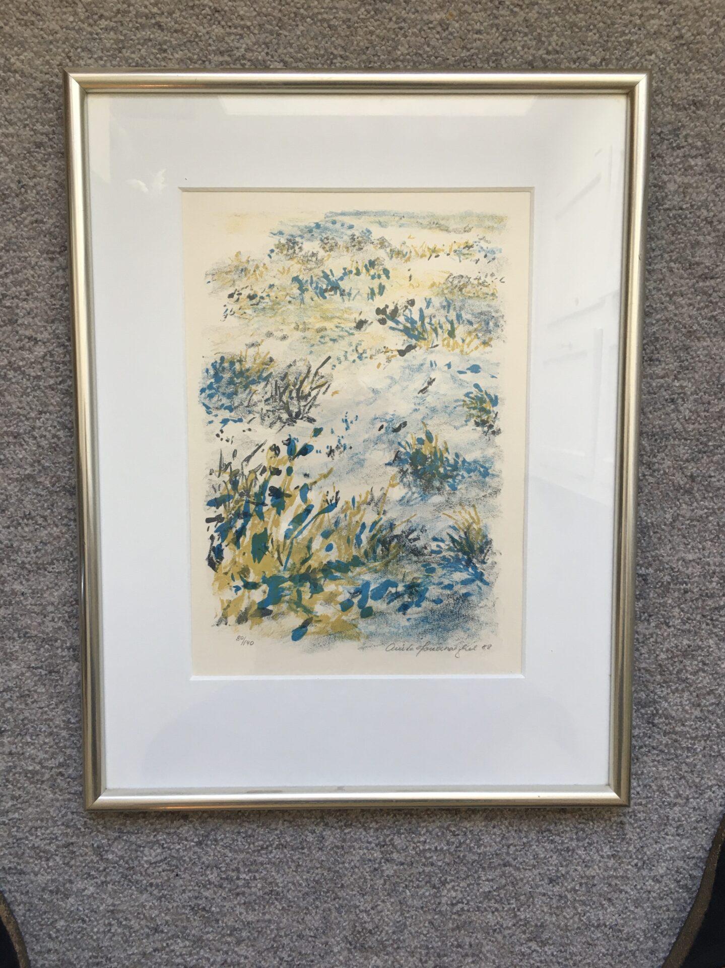 Anita Houvenaeghel, litografi nr 80/140, signeret i 88, rammemål 43x57cm, pris 300kr
