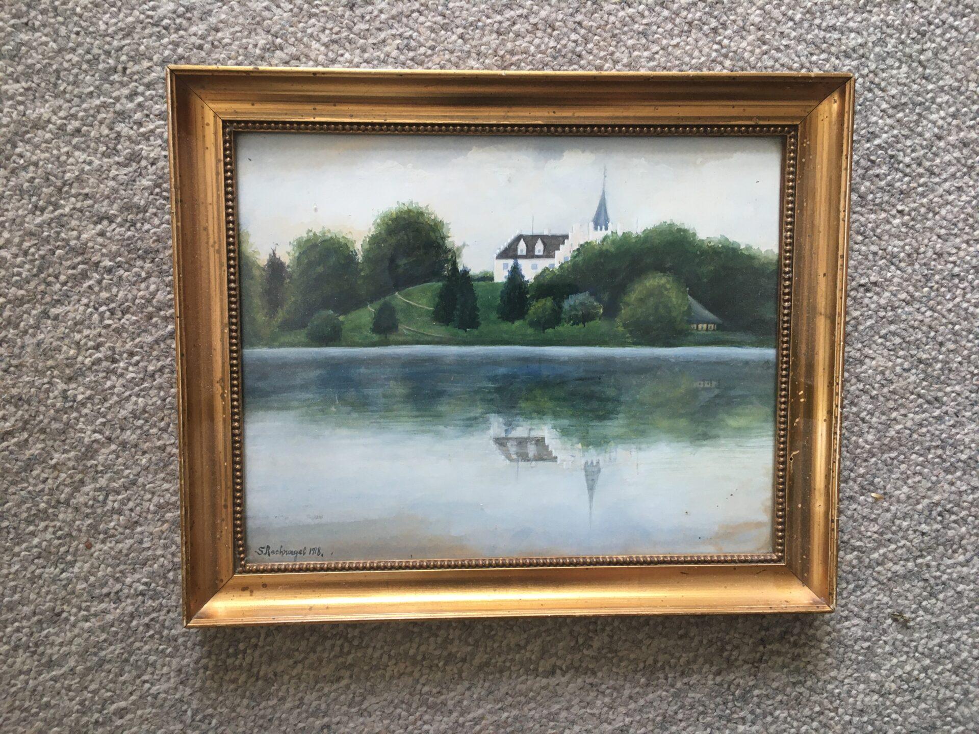 Tranekær slot (akvarel/gouache (sigeneret S.Rechnagel 1918) rammemål 23x29 cm,