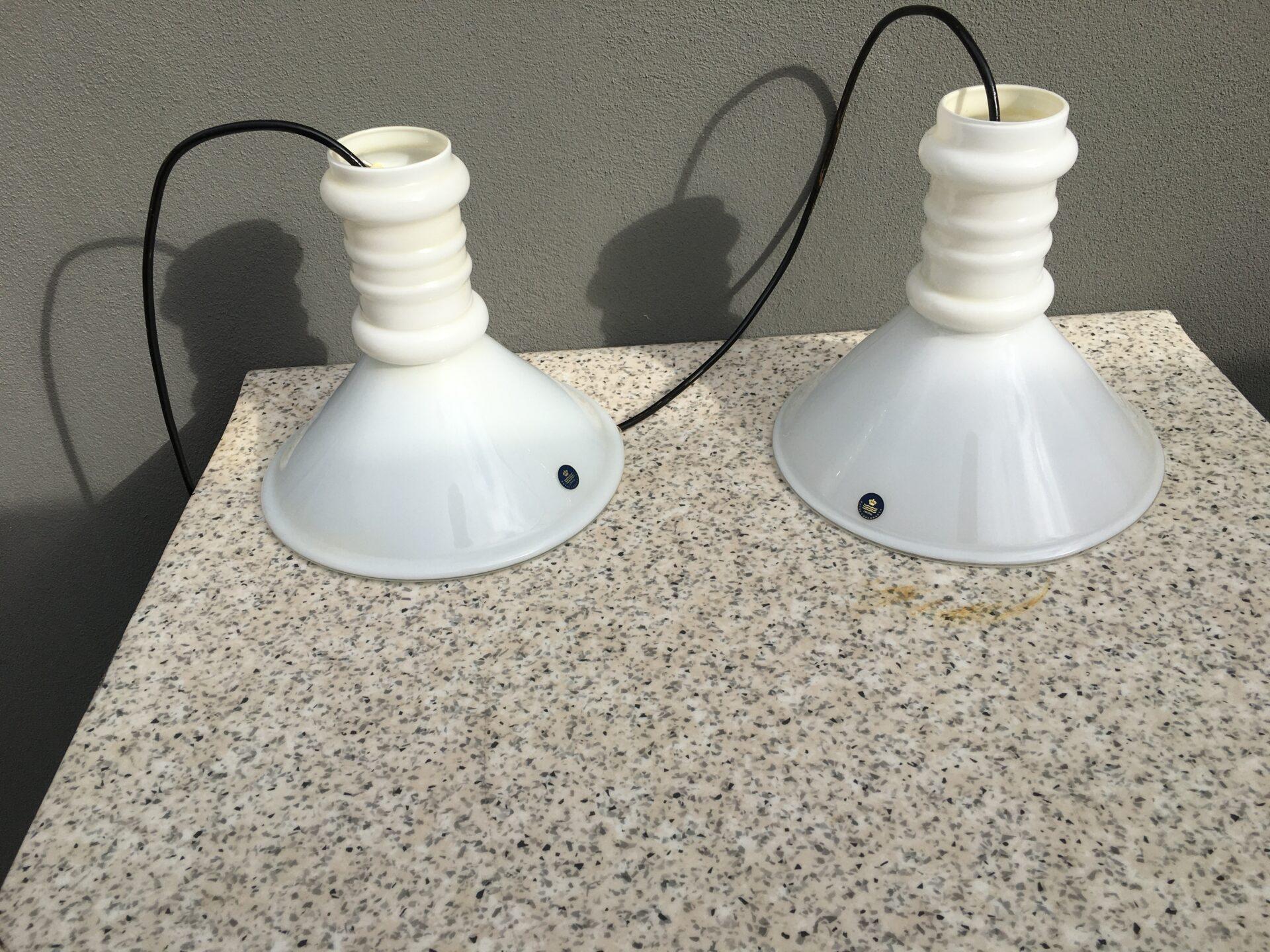 2 stk Holmegaard, apotekerlamper, d=24 cm, samlet pris 900kr