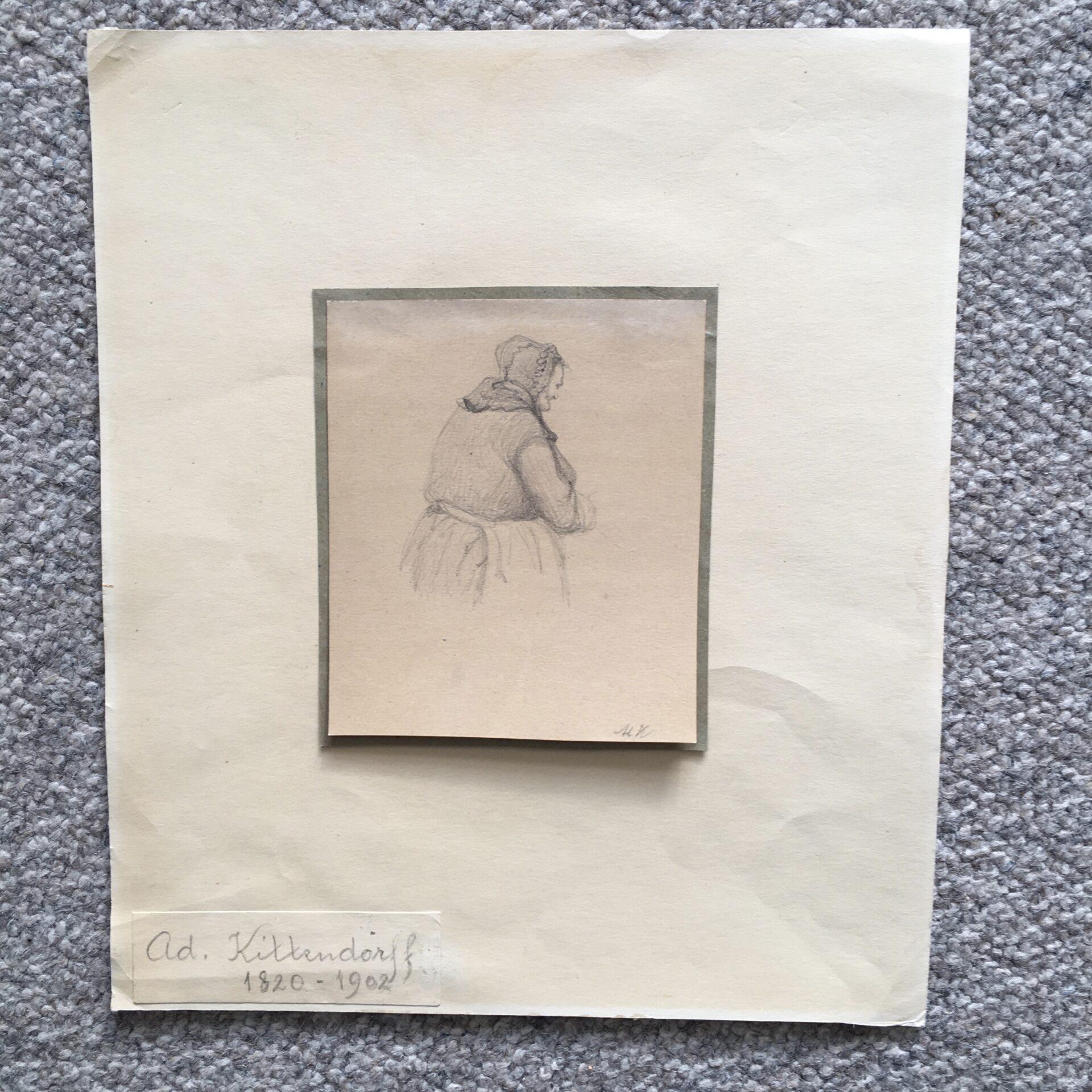 Lille tegning, signeret Adolph Kittenforff, monteret på pap (26x22 cm). pris 300kr