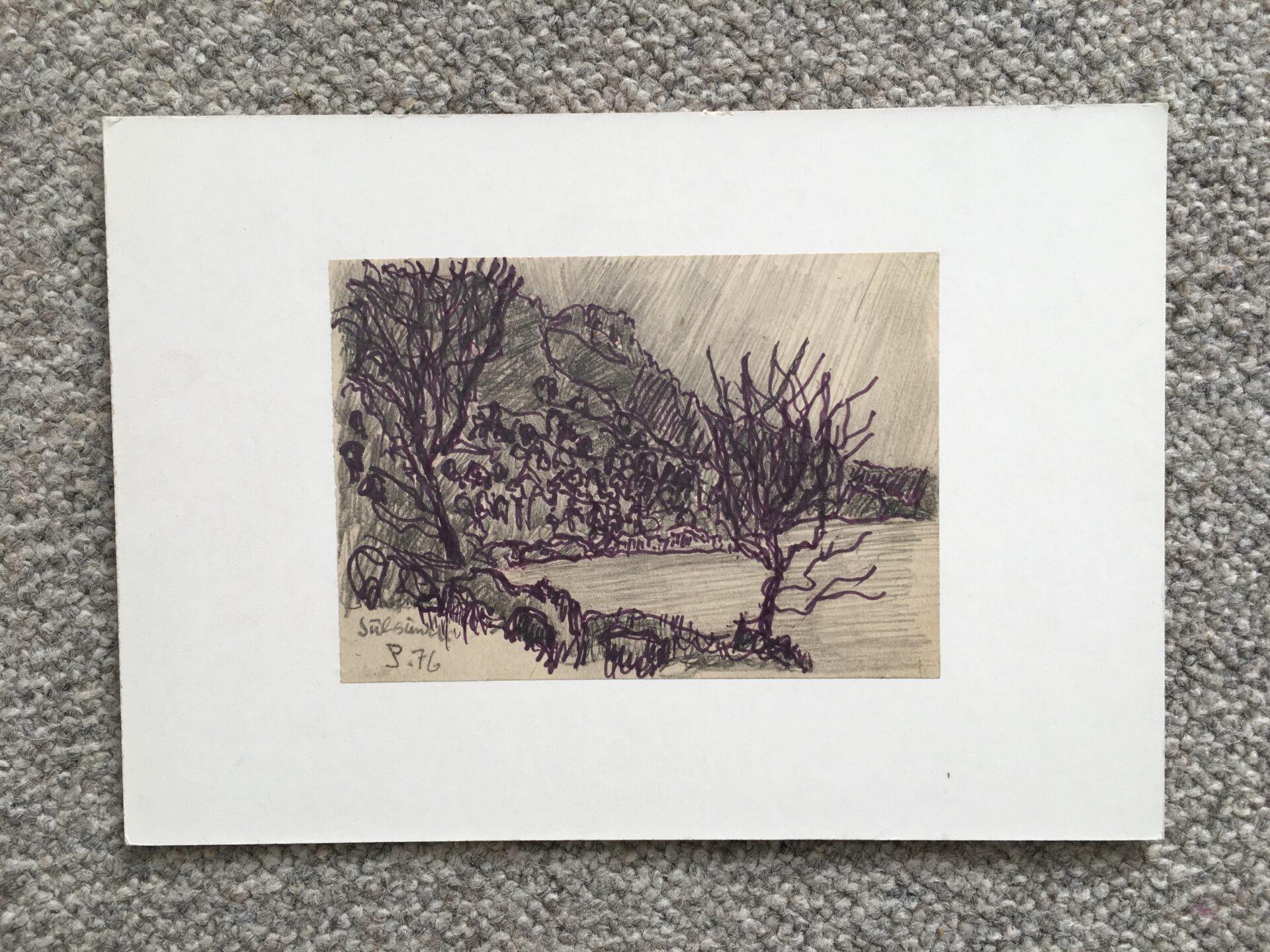 Tegning sign. Per Jölting 76, monteret på pap (26x18 cm), moti fra Julsundet, Norge. Pris 300kr