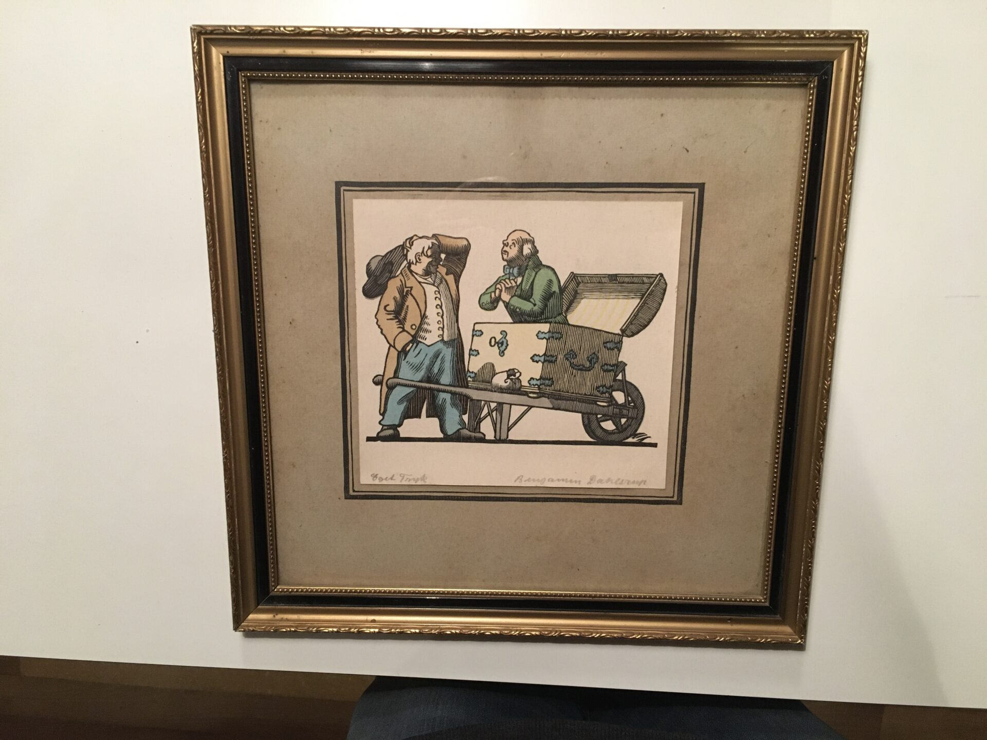 Benjamin Dahlerup, signert i bly, eget tryk, rammemål 28x28 cm,pris 300kr