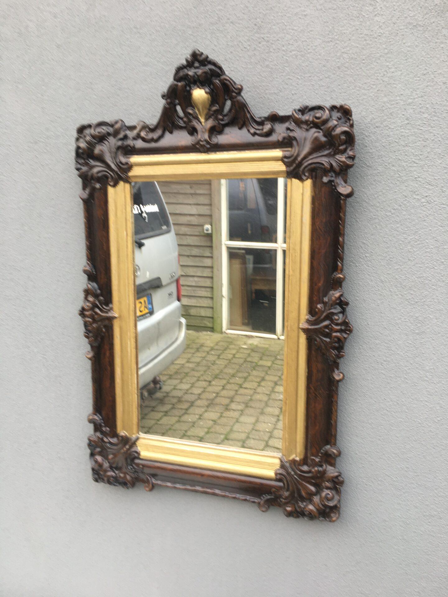 Lille fint rokoko spejl fra 1800-tallet, 65x45 cm, pris 600kr