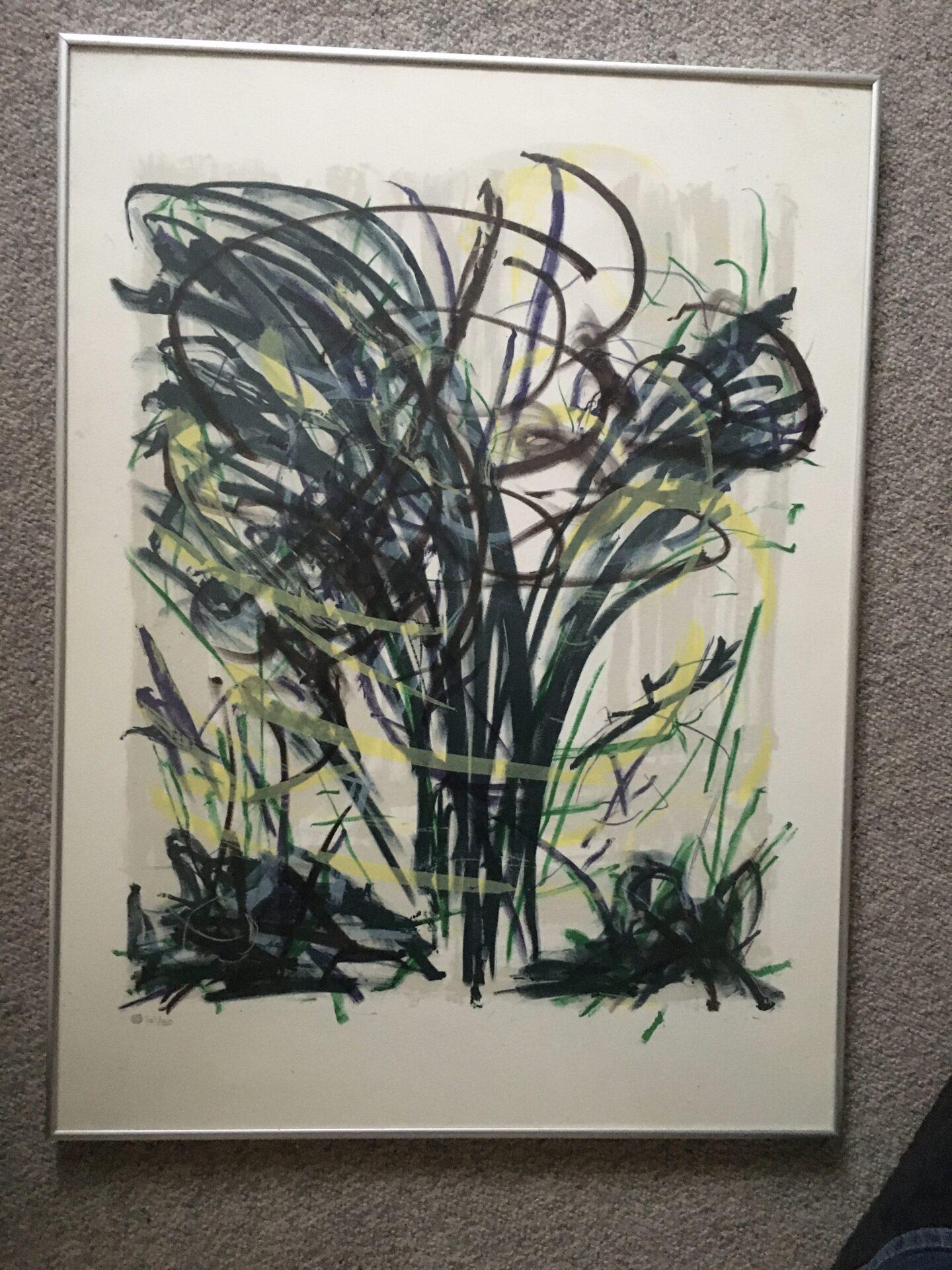Eva Weis Bentzon, litografi nr. 101/150, signeret på bagsiden i 1987, pris 700 kr