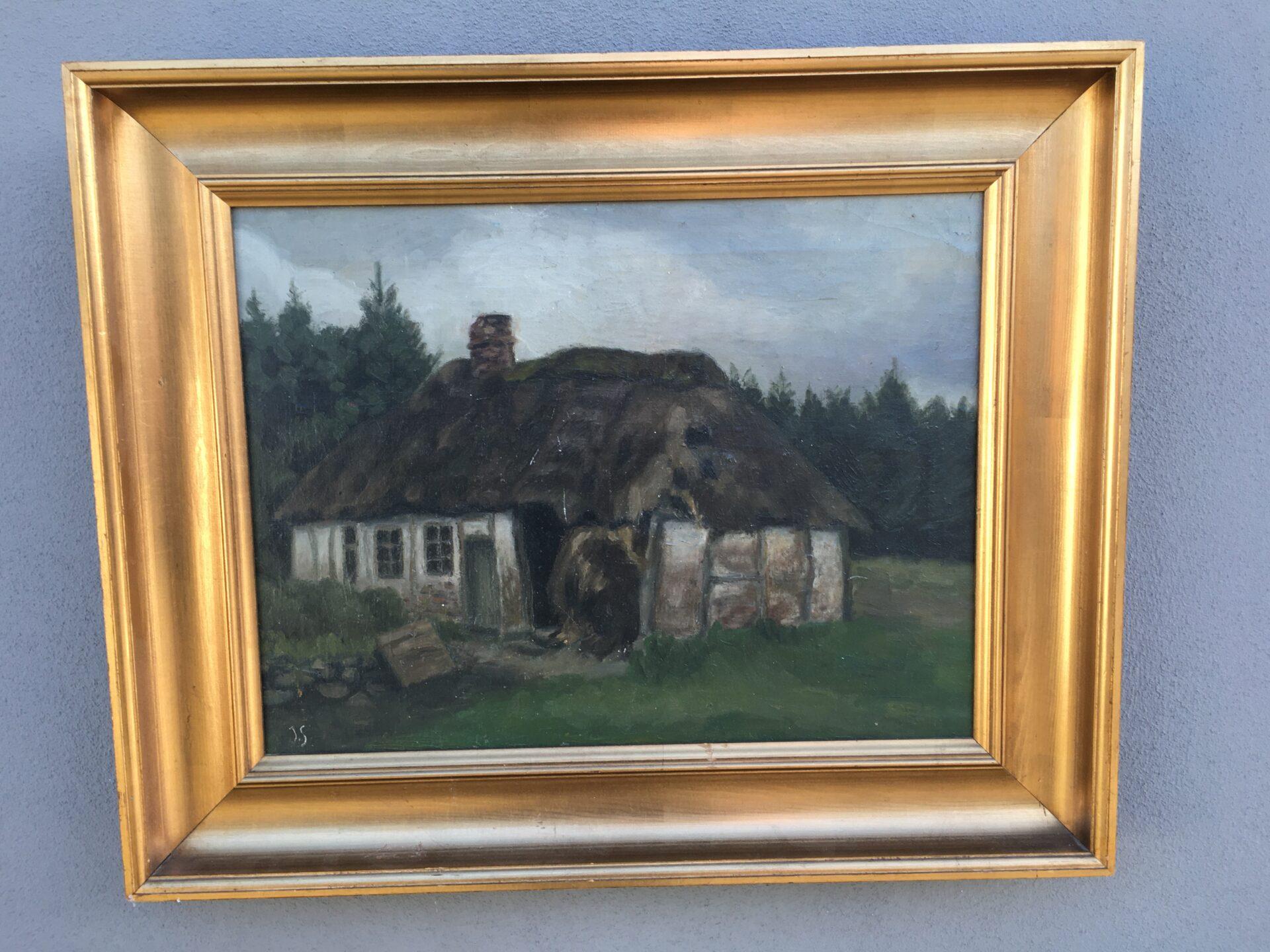 Ældre maleri sign JS (antageligt norsk kunstner), rammemål 50x65 cm, pris 500kr