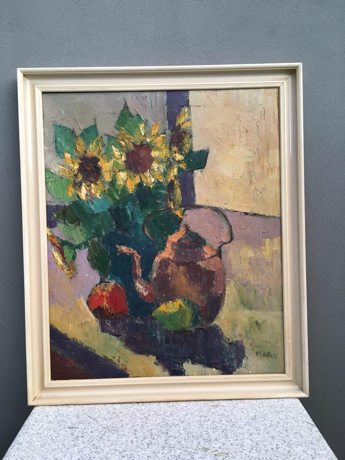 Maleri, utydeligt signeret, rammemål, 76x91 cm, pris 300kr