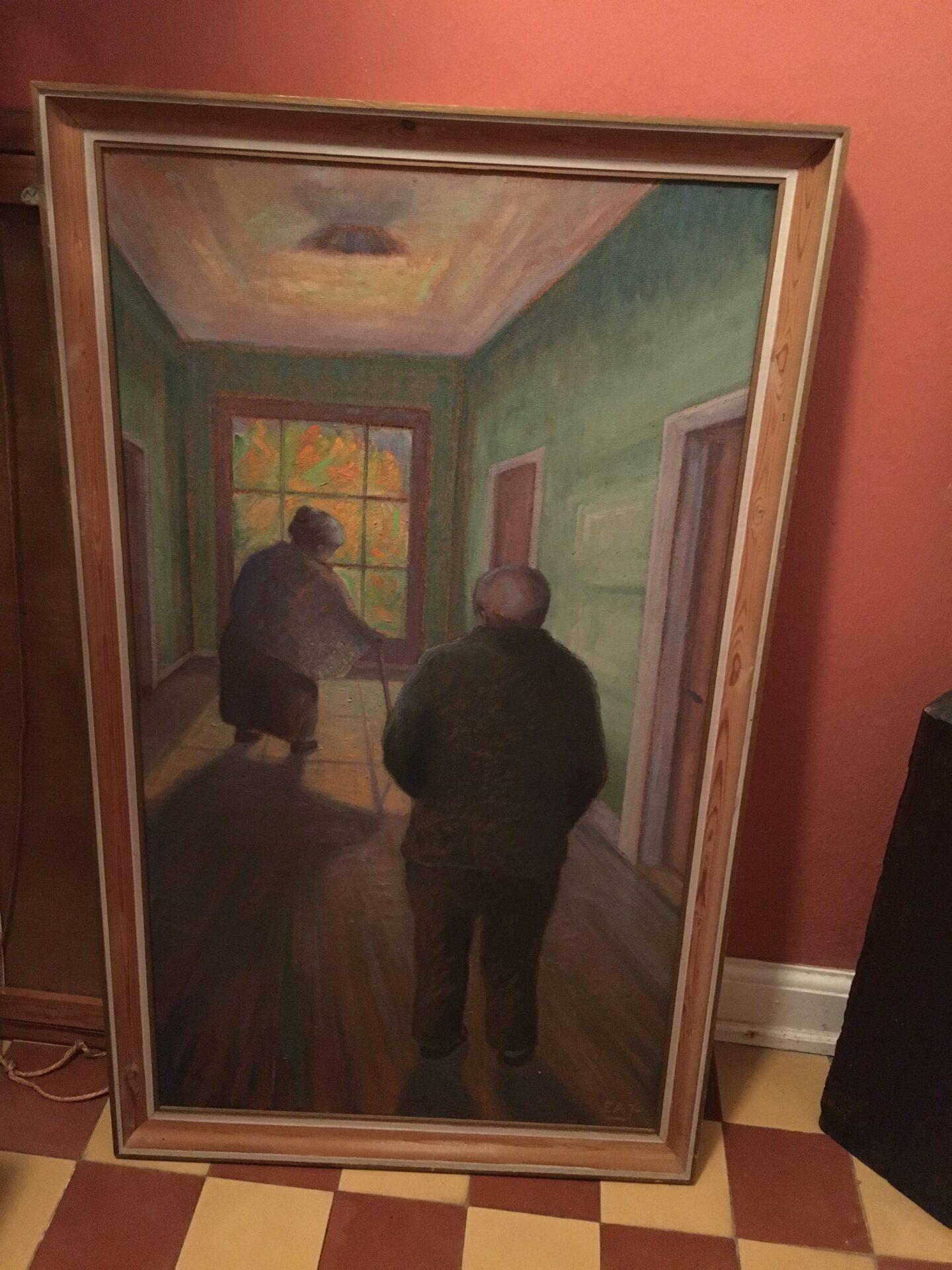 Stort maleri sign EAJ (ukendt), rammemål 68x113cm, pris 300kr
