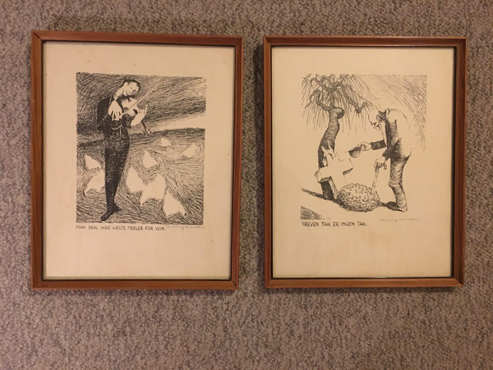 Henning Knudsen, Aalborg, tusch tegninger, pr stk 300kr (rammemål 29x24 cm)