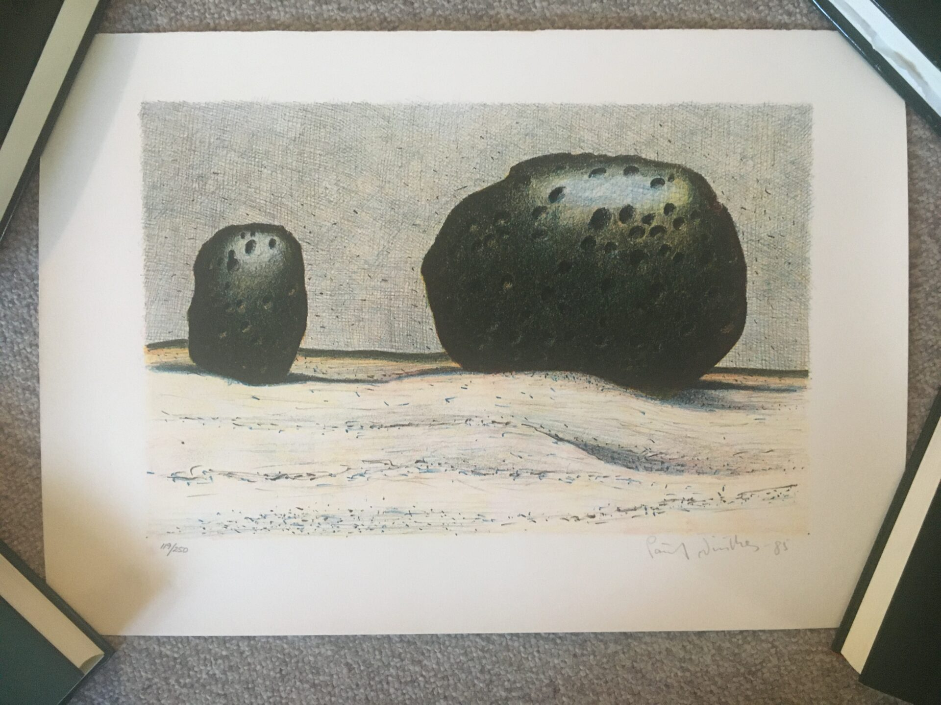 Poul Winther, litografi nr 119/250, signeret i 85,(rullet) 38x55 cm, pris 400kr