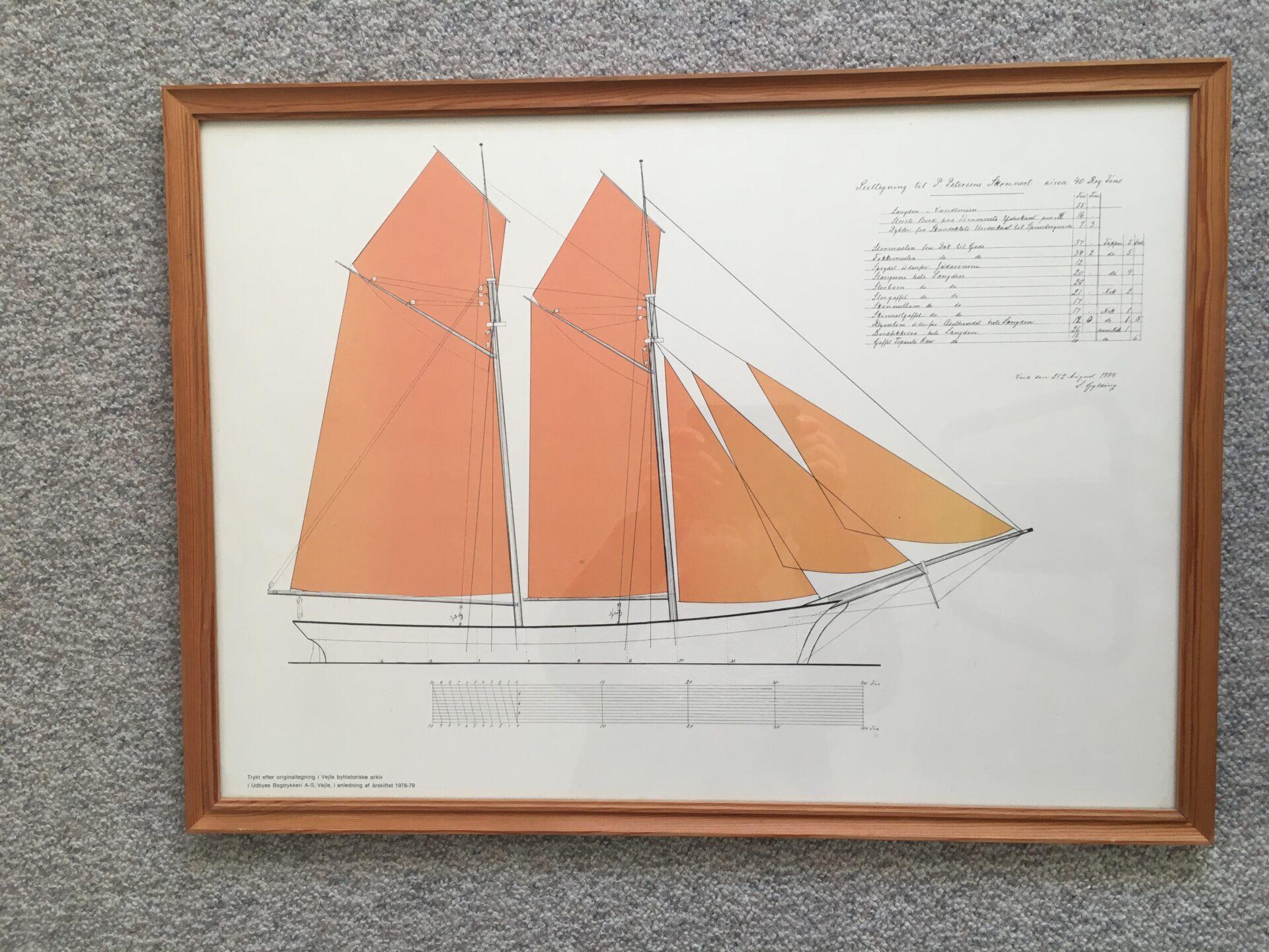 Grafisk tryk af tegning til Skonnert fra Skibsbyggerfirmaet Gylding & Lindtner, Vejle,