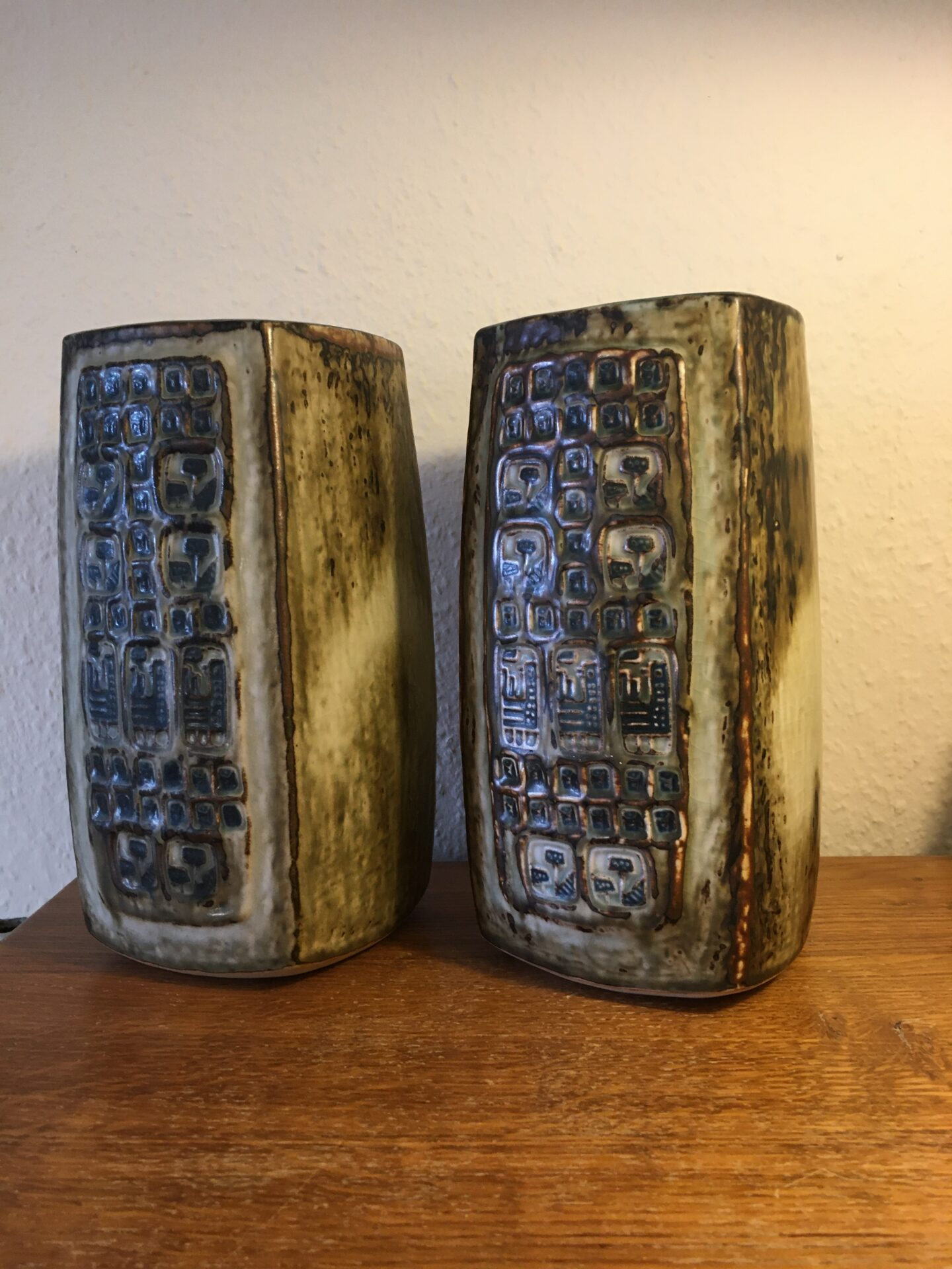 2 stk Royal Copenhagen stentøjsvaser, nr, 21923, 1. sortering, h=24,5 cm, samlet pris 1000kr