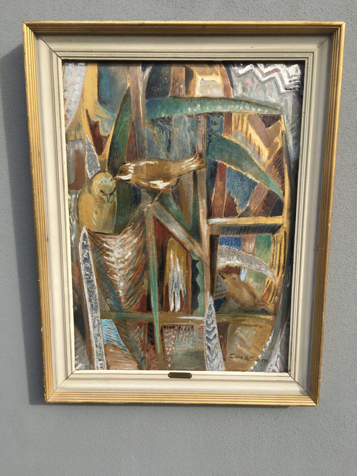 Emil A. Schou, flot maleri med fugle, malet på plade, rammemål 50x77 cm. pris 800kr