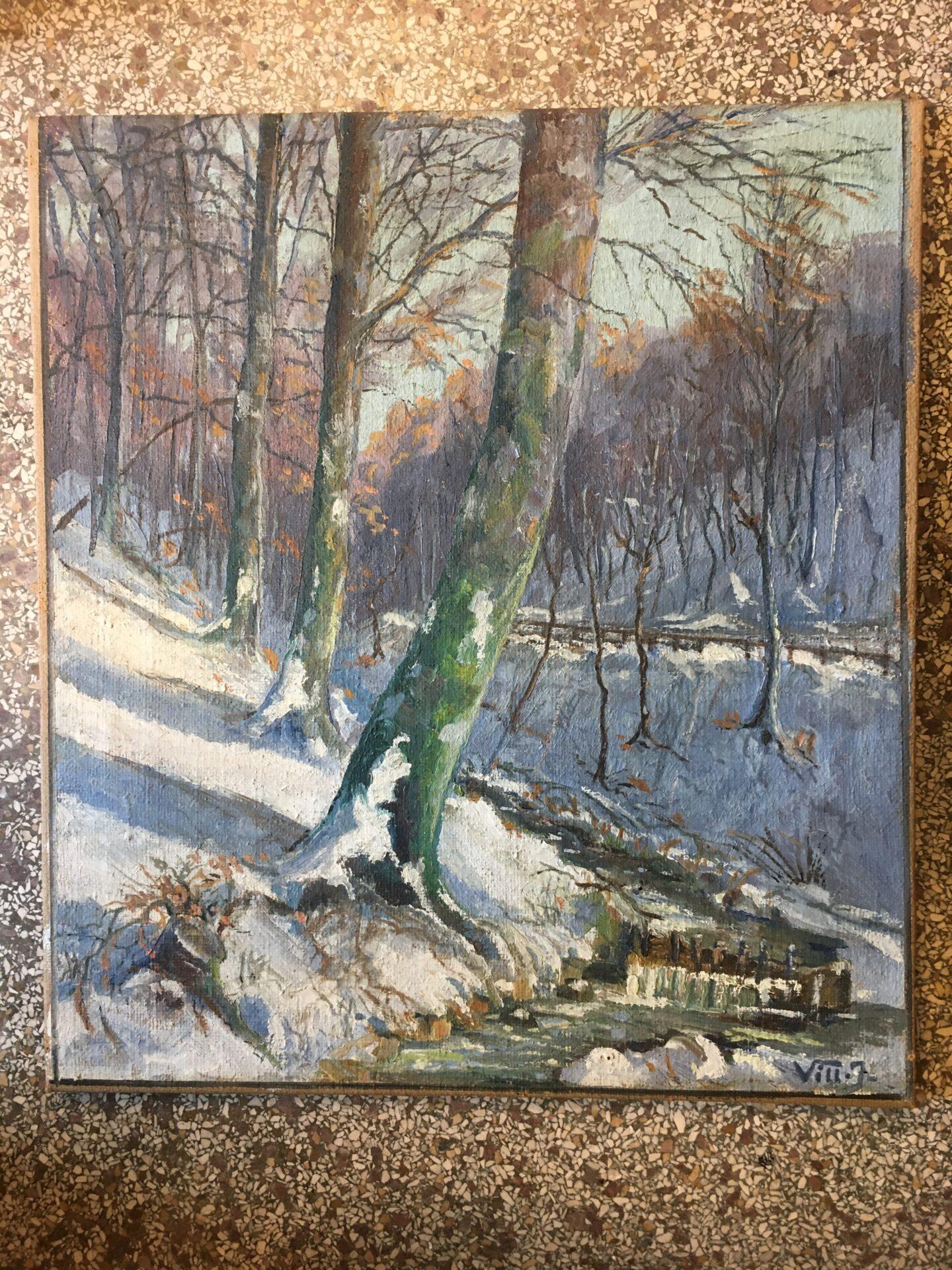 Maleri,signeret i 1937, Polakker-skoven ved Bredballe, Vejle