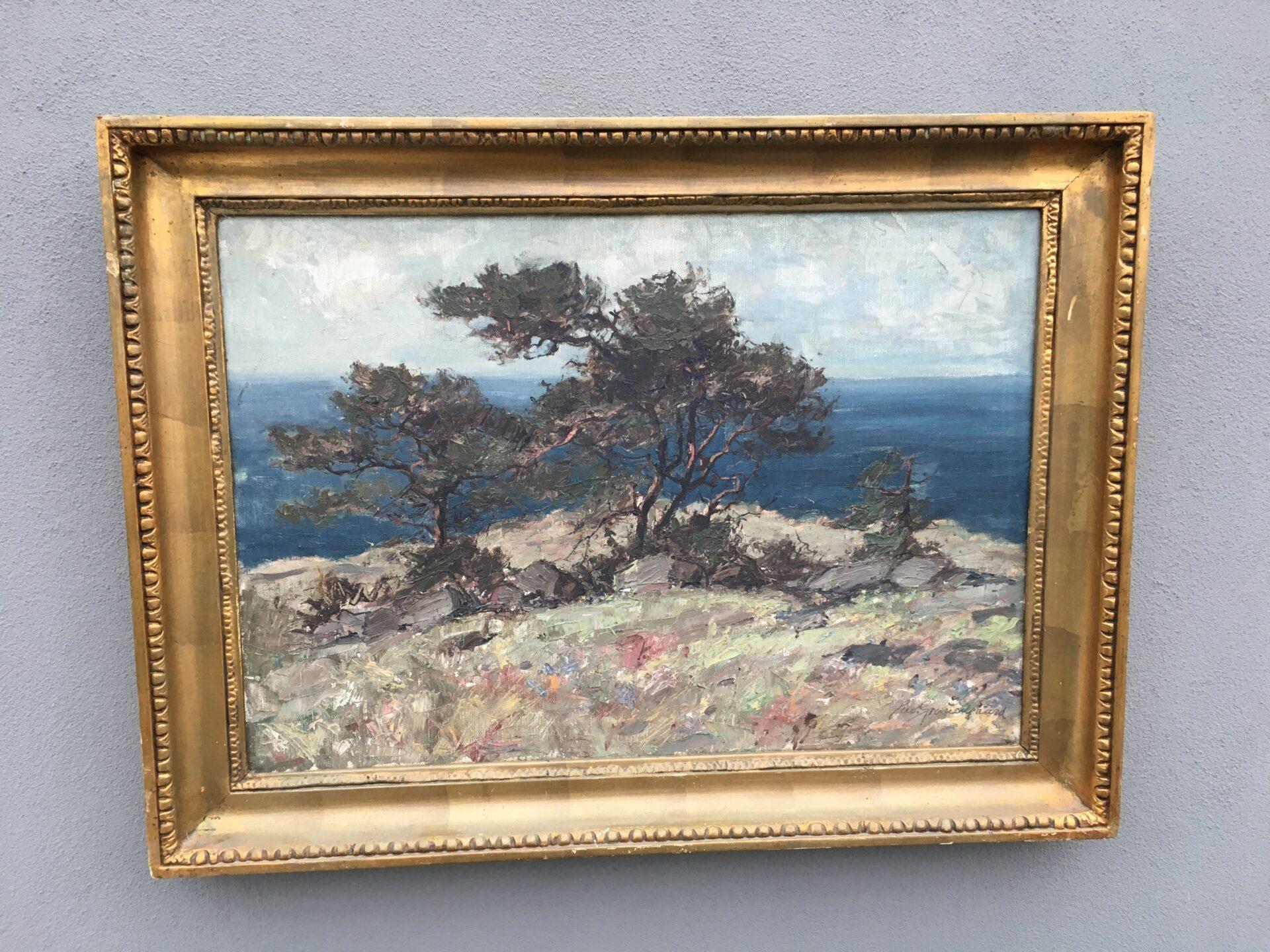 Utydeligt signeret maleri, antageligt Ewald Grauengaard,  i org. Damborg ramme, 56x77  pris 1000k