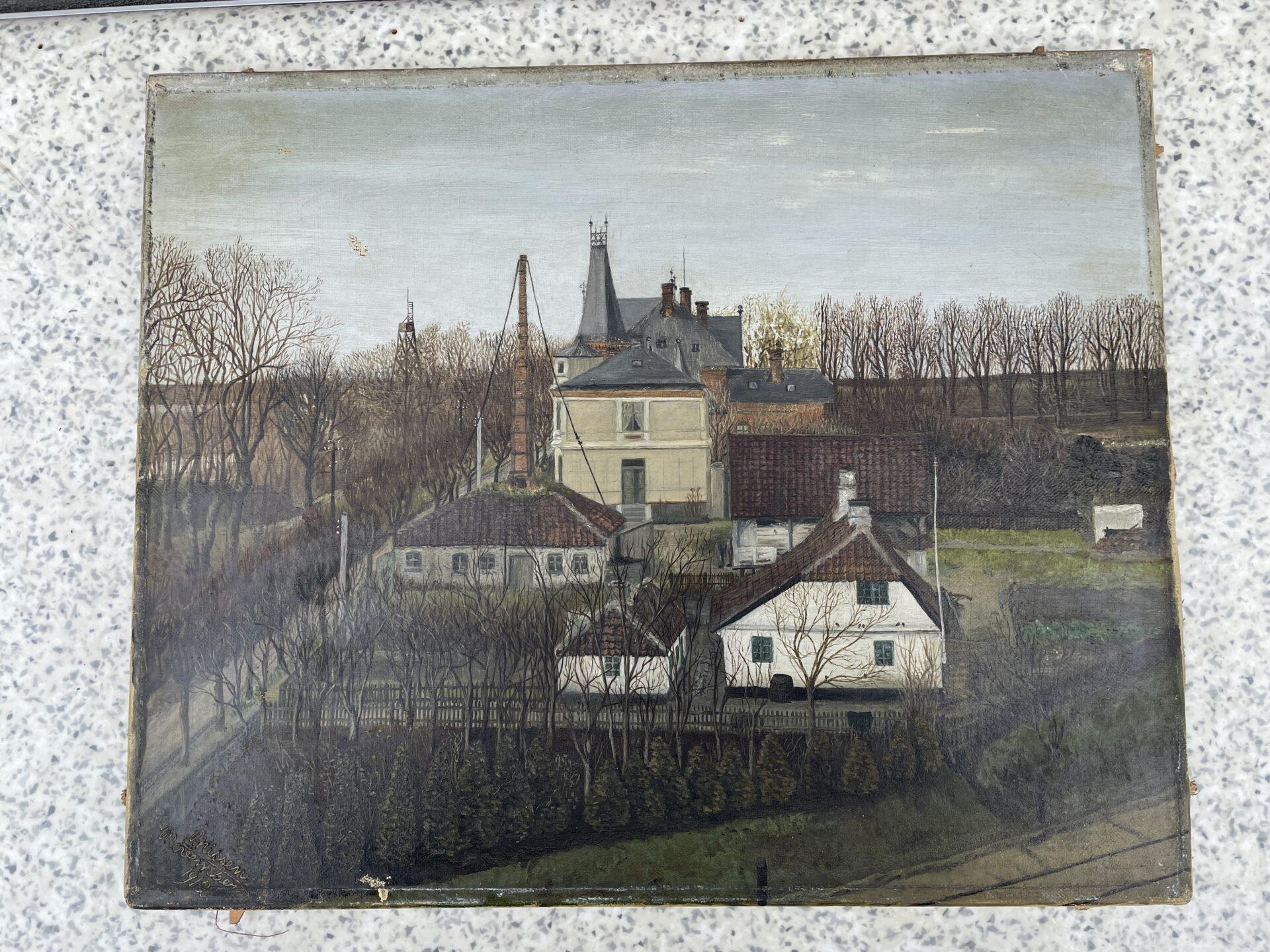 Gammelt maleri af Villa Estrella, Fredericia, signeret Nissen 1912, uindrammet,43x34 cm,