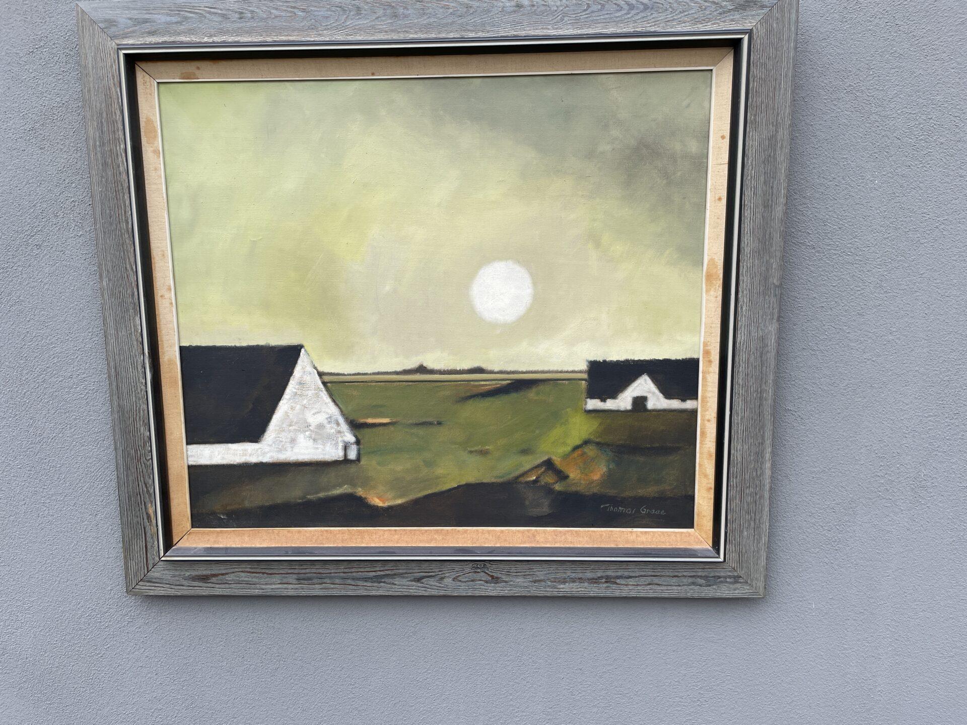 velholdt maleri sign Thomas Graae, rammemål 68x79 cm, pris 600kr