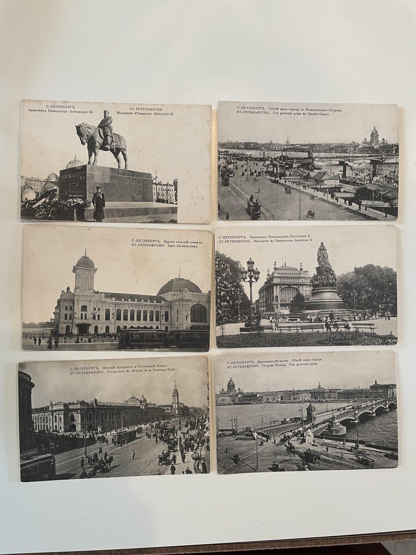6 stk gamle ubrugte postkort med motiver fra Sankt Petersborg, samlet pris 150kr