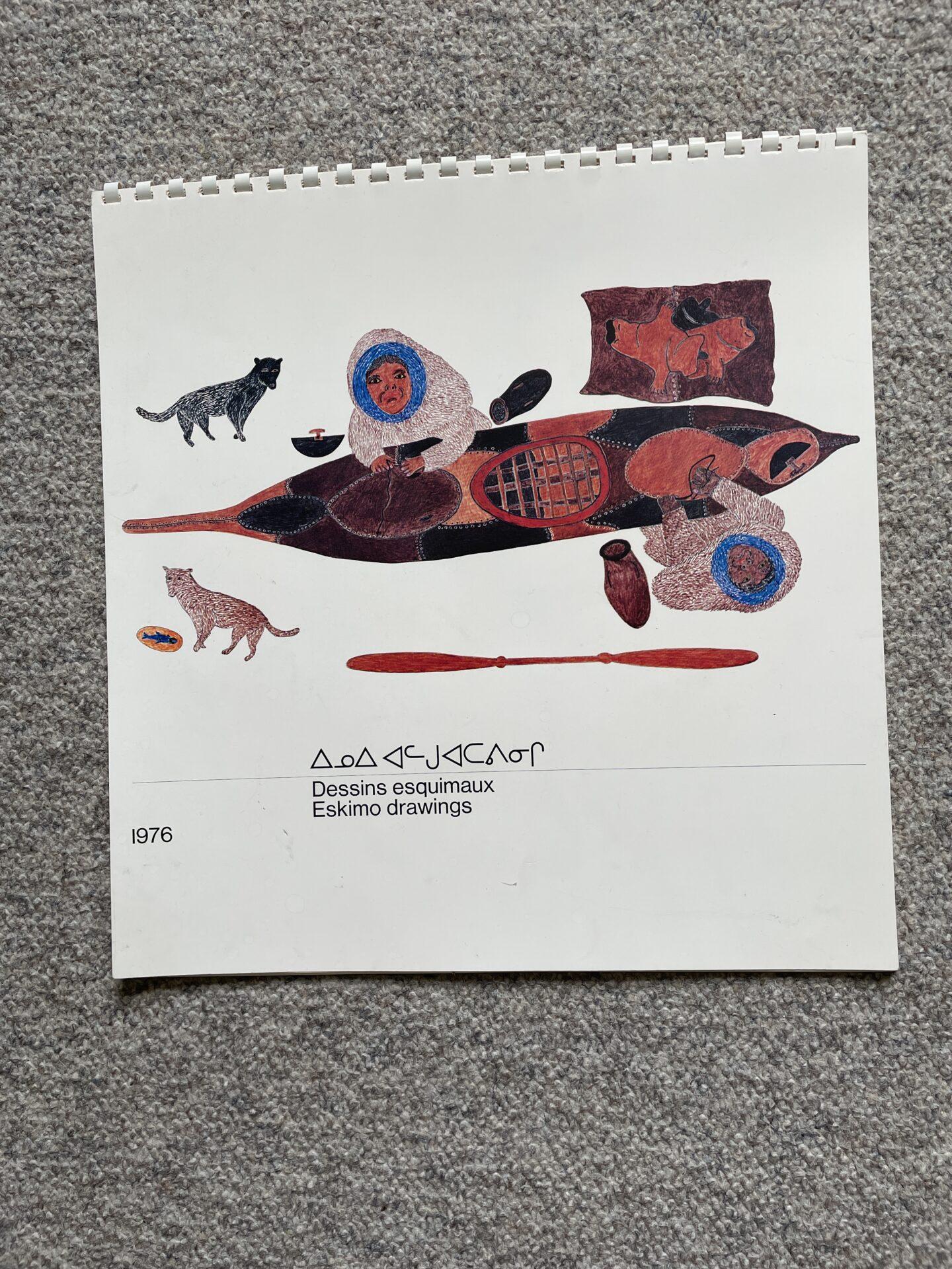 Kalender fra 1976, mes 12 stk navngivne og betitlede kunsttryk af Eskimo tegninger.