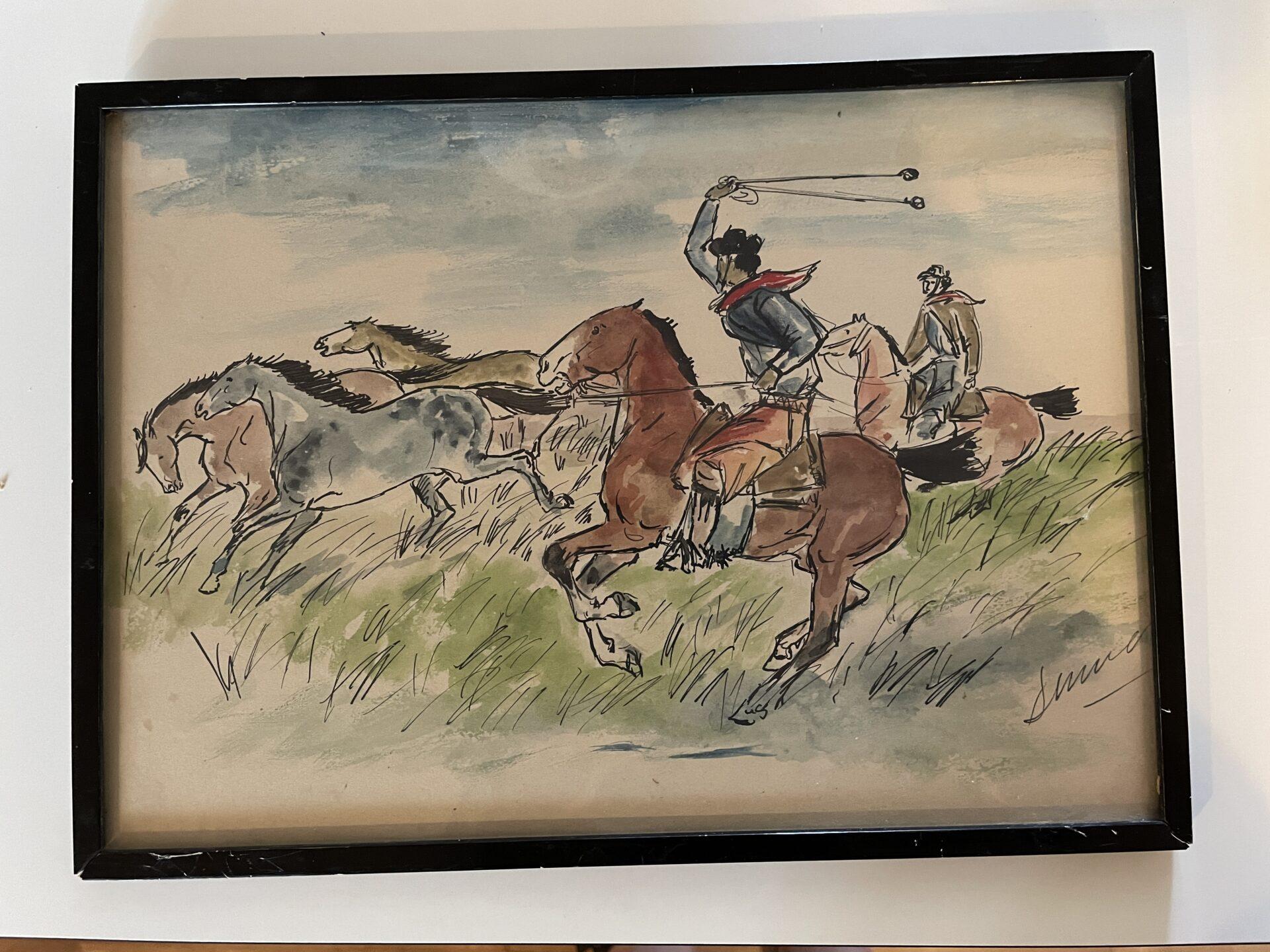 lille akvarel,  ukendt kunstner, rammemål 31x22cm, indrammet ca 1940-1950, pris 300kr