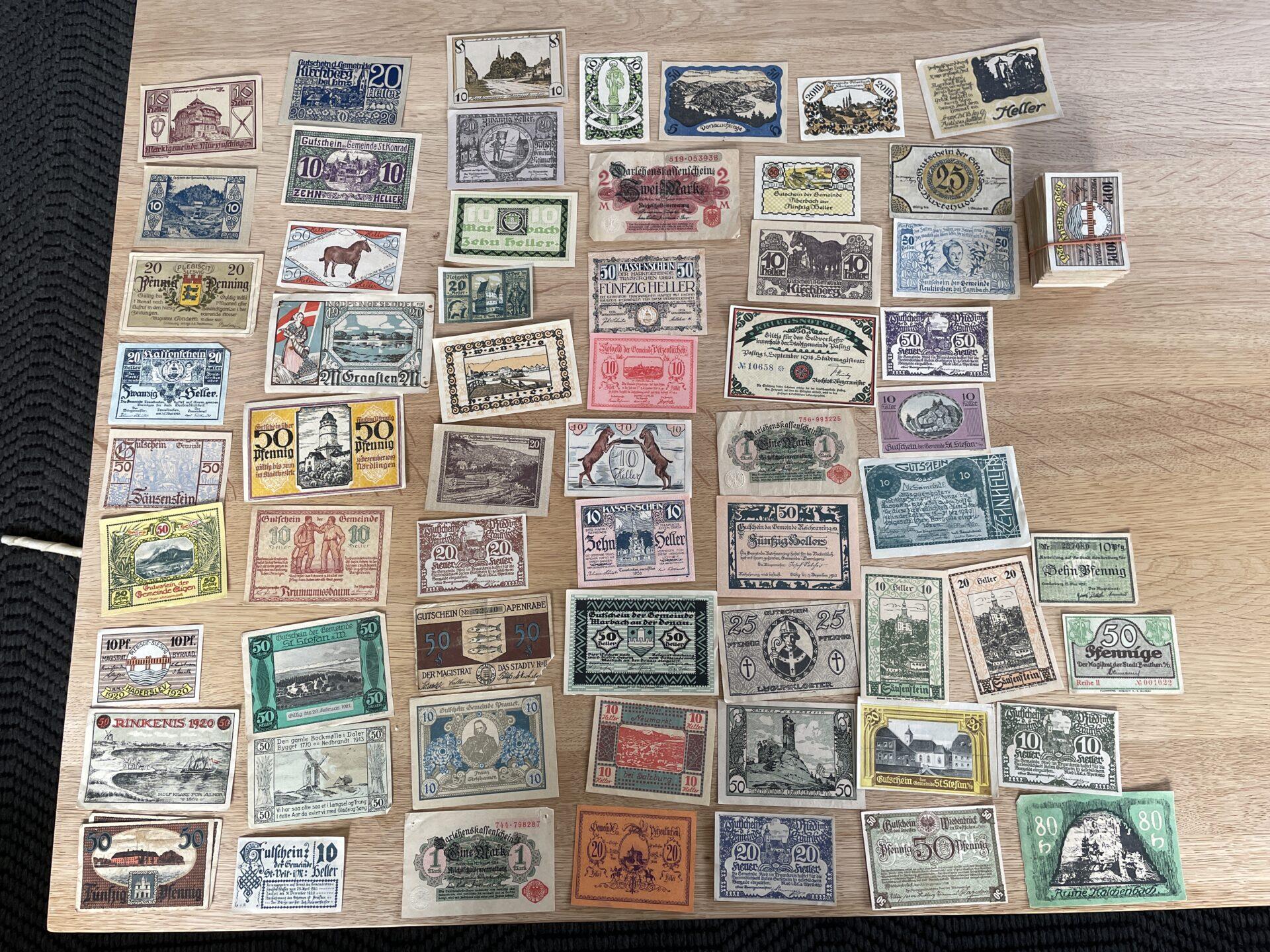 Stor samling nødpengedler, ca 400 stk, samlet pris 1000kr
