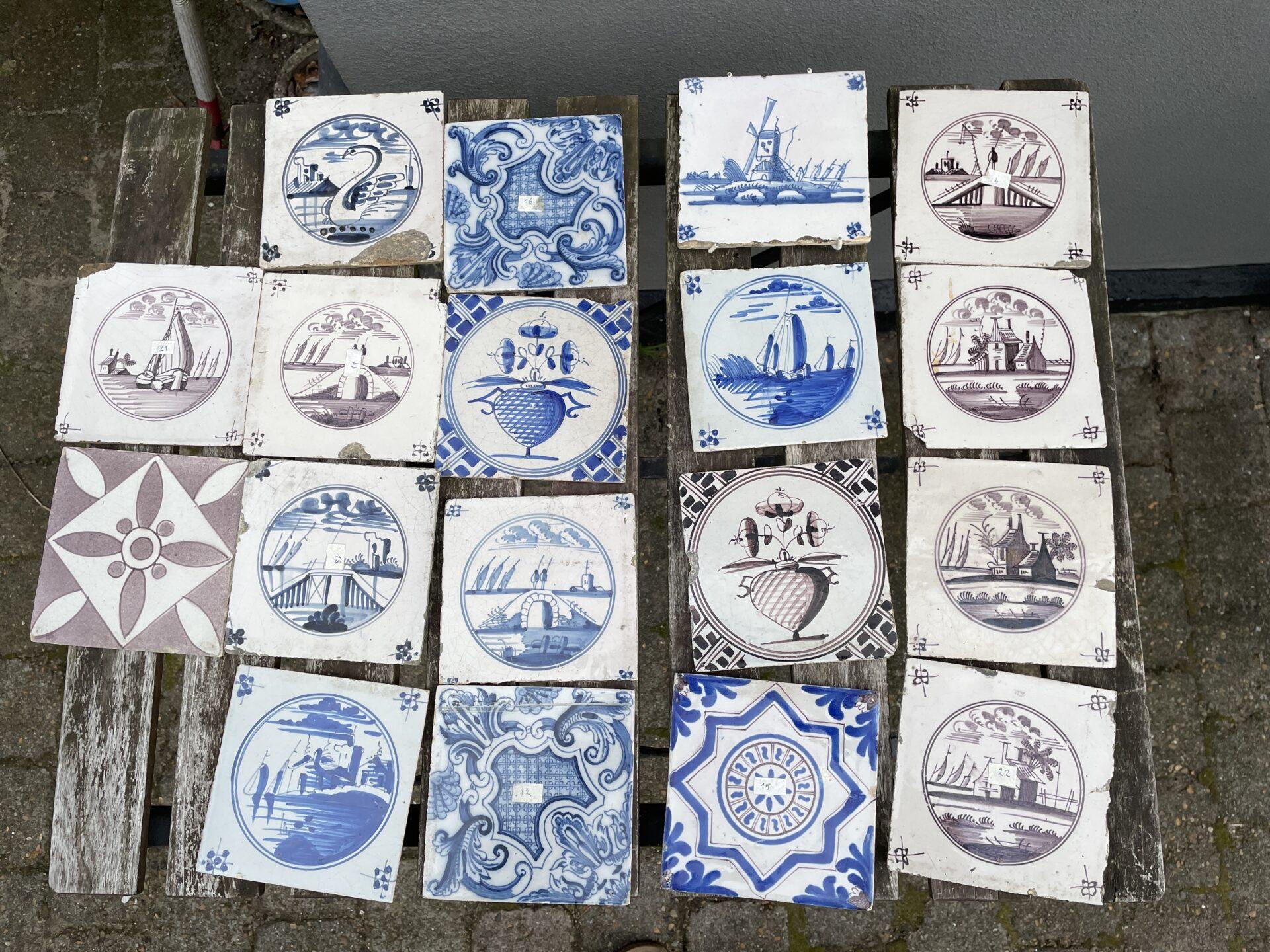 Antikke Fanø fliser, frit valg pr stk 100kr