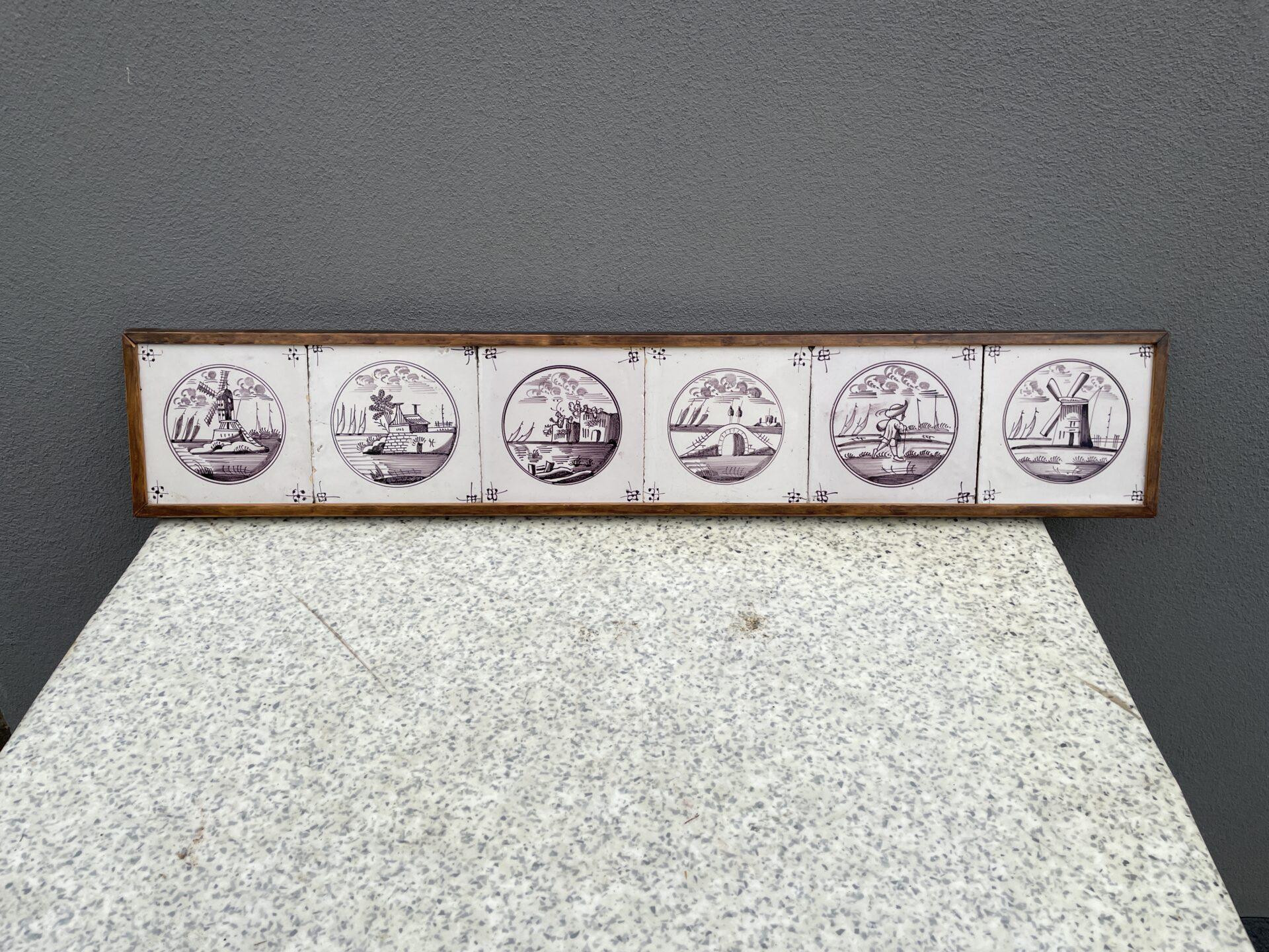 6 stk amtikke Fanø figur fliser med mangan farve, indrammet itræ. Pris 800kr