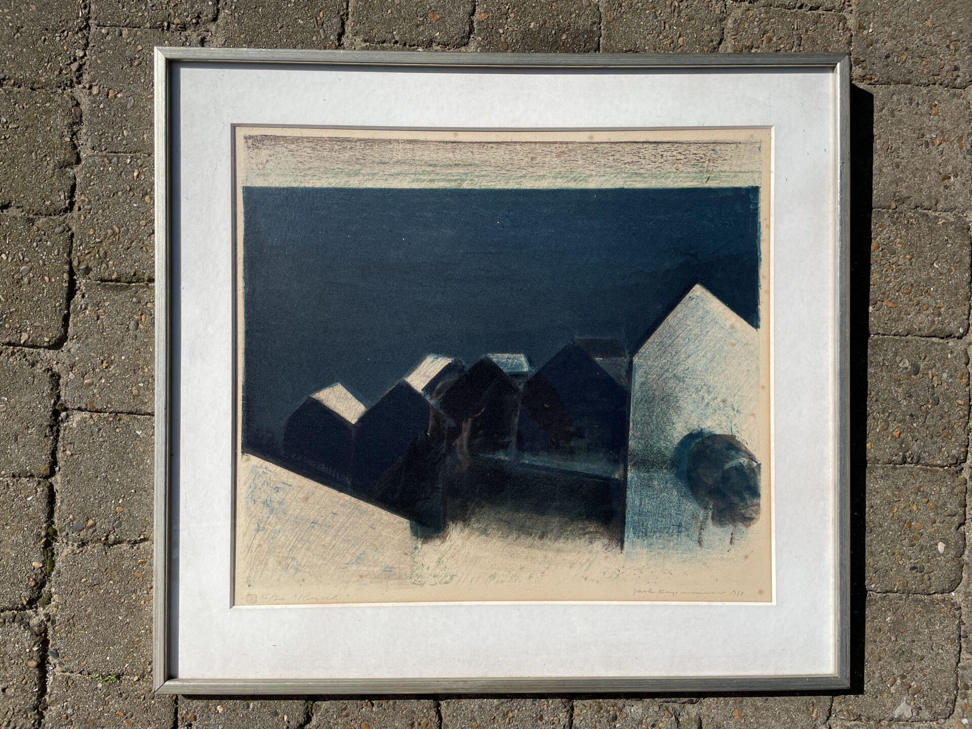 Jack Kampmann, litografi, nr 115/300 signeret i 1980 (Kvivik), rammemål 72x67 cm.