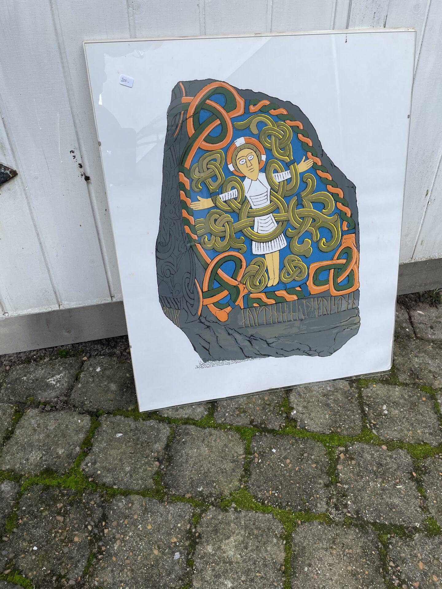 Jelling-stenen, litografisk tryk,50x60 cm, pris 200kr