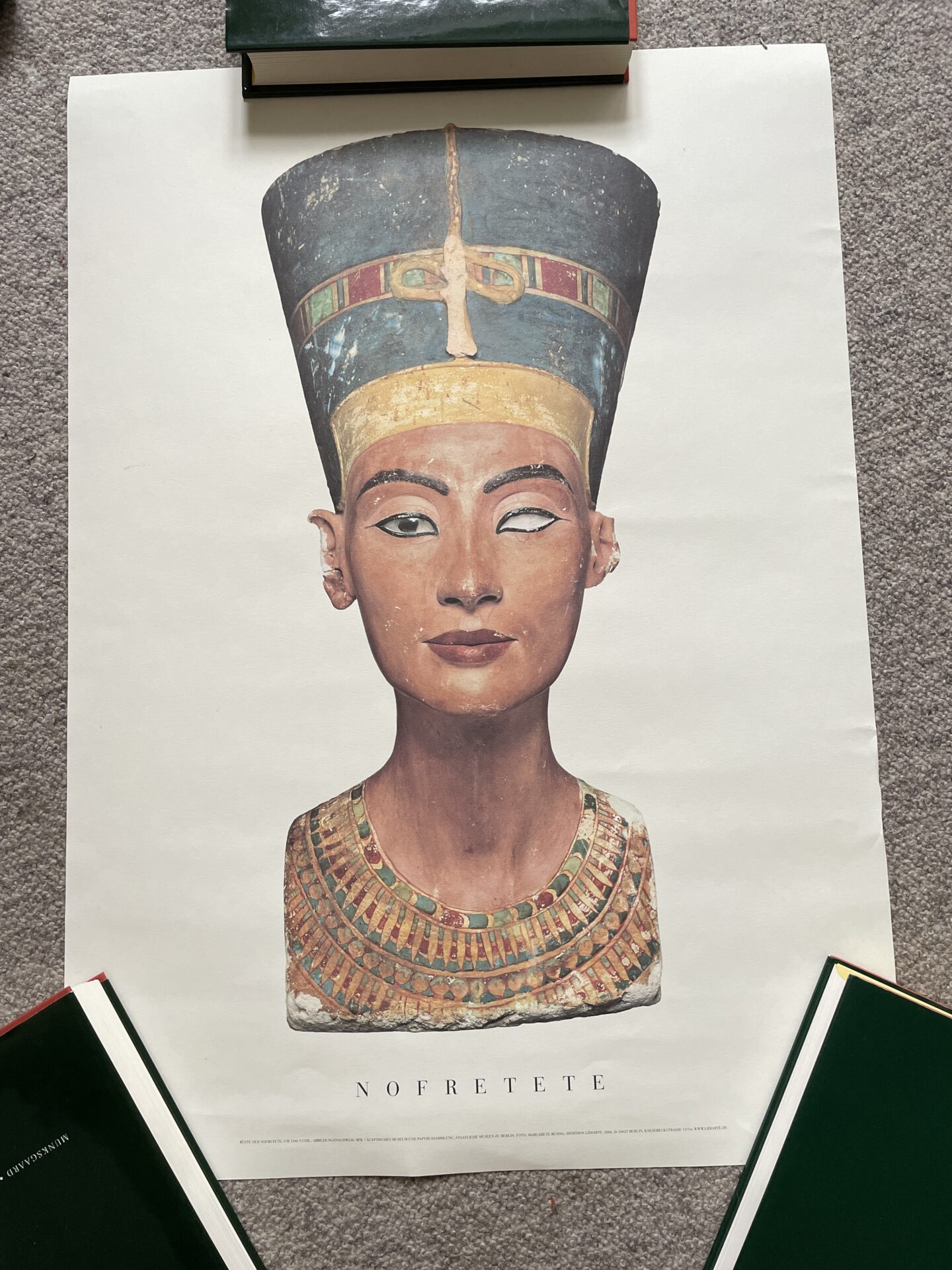 Tysk kunsttryk, 50x70 cm, rullet, Dronning Nofretete, pris 300kr